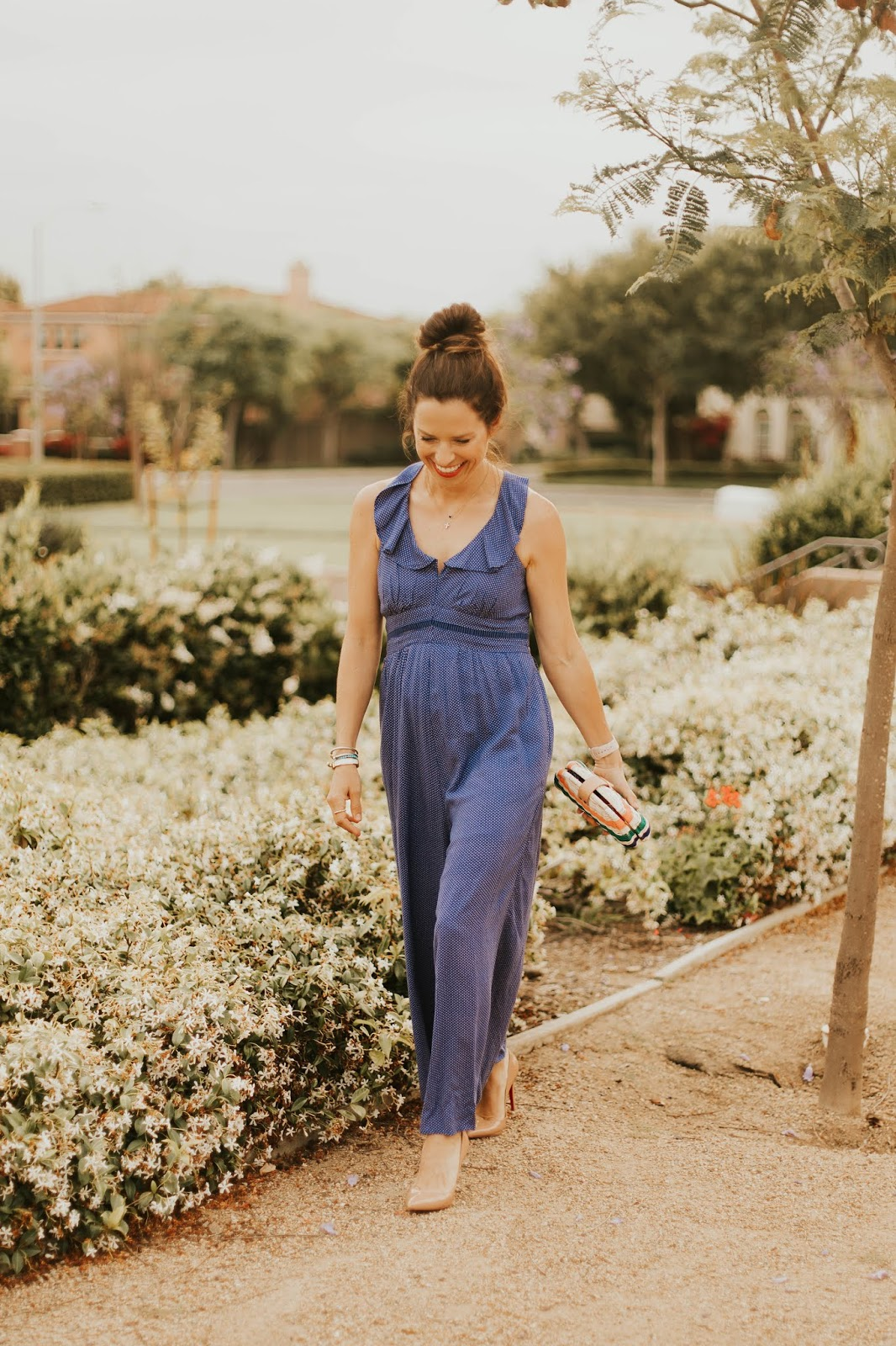 blue jumpsuit outfit