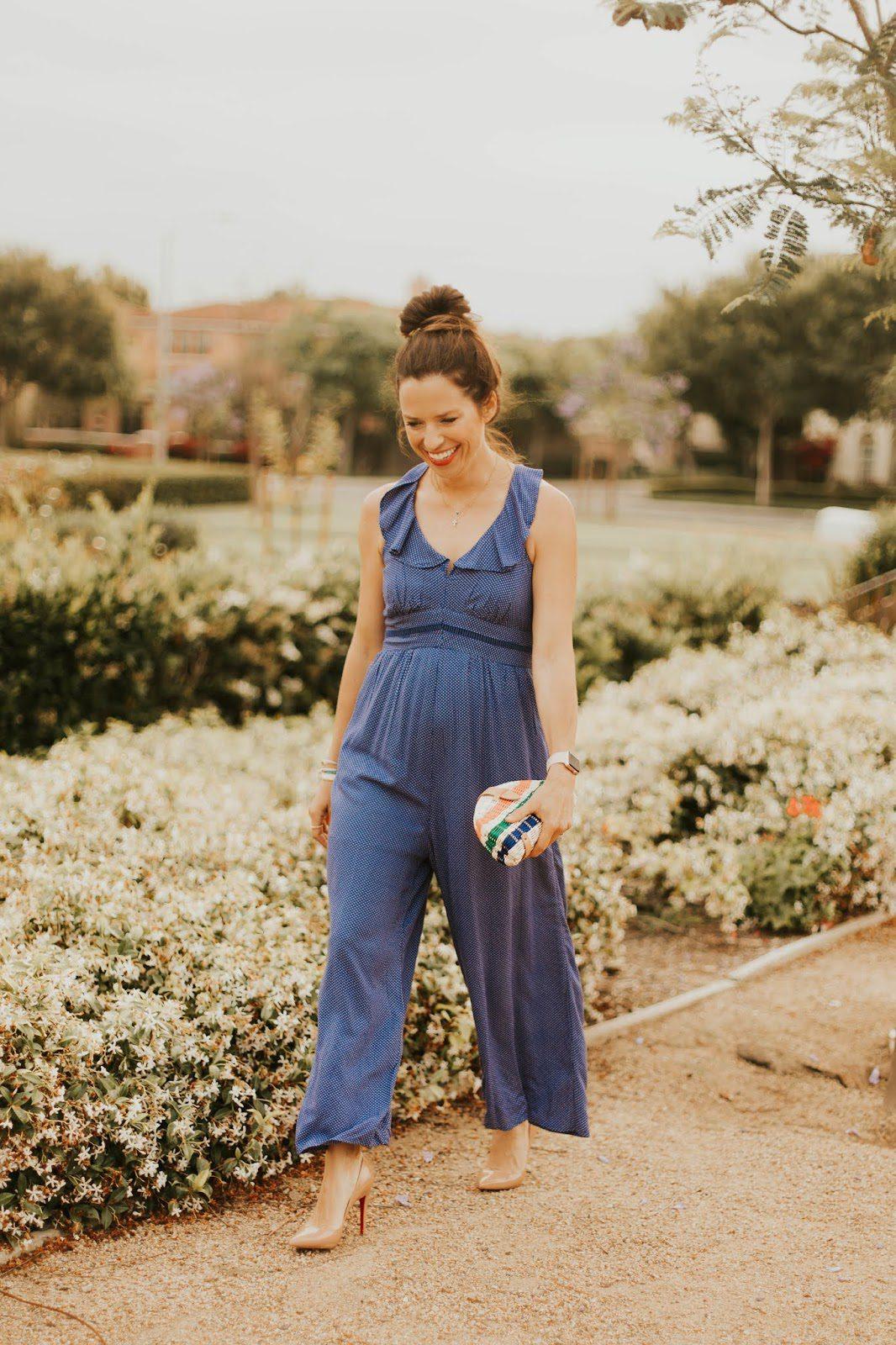 blue jumpsuit outfit