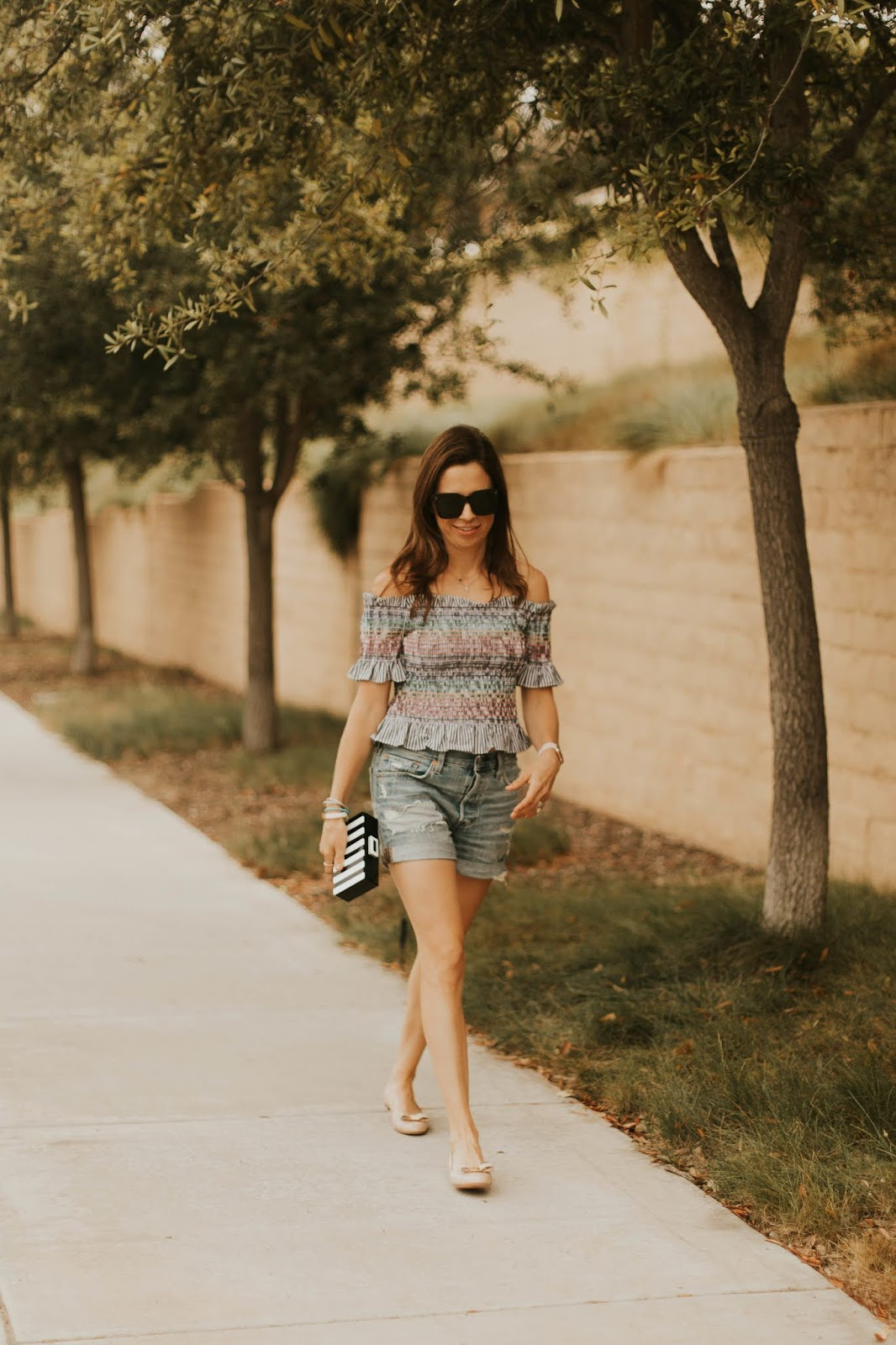 smocked off the shoulder top outfit