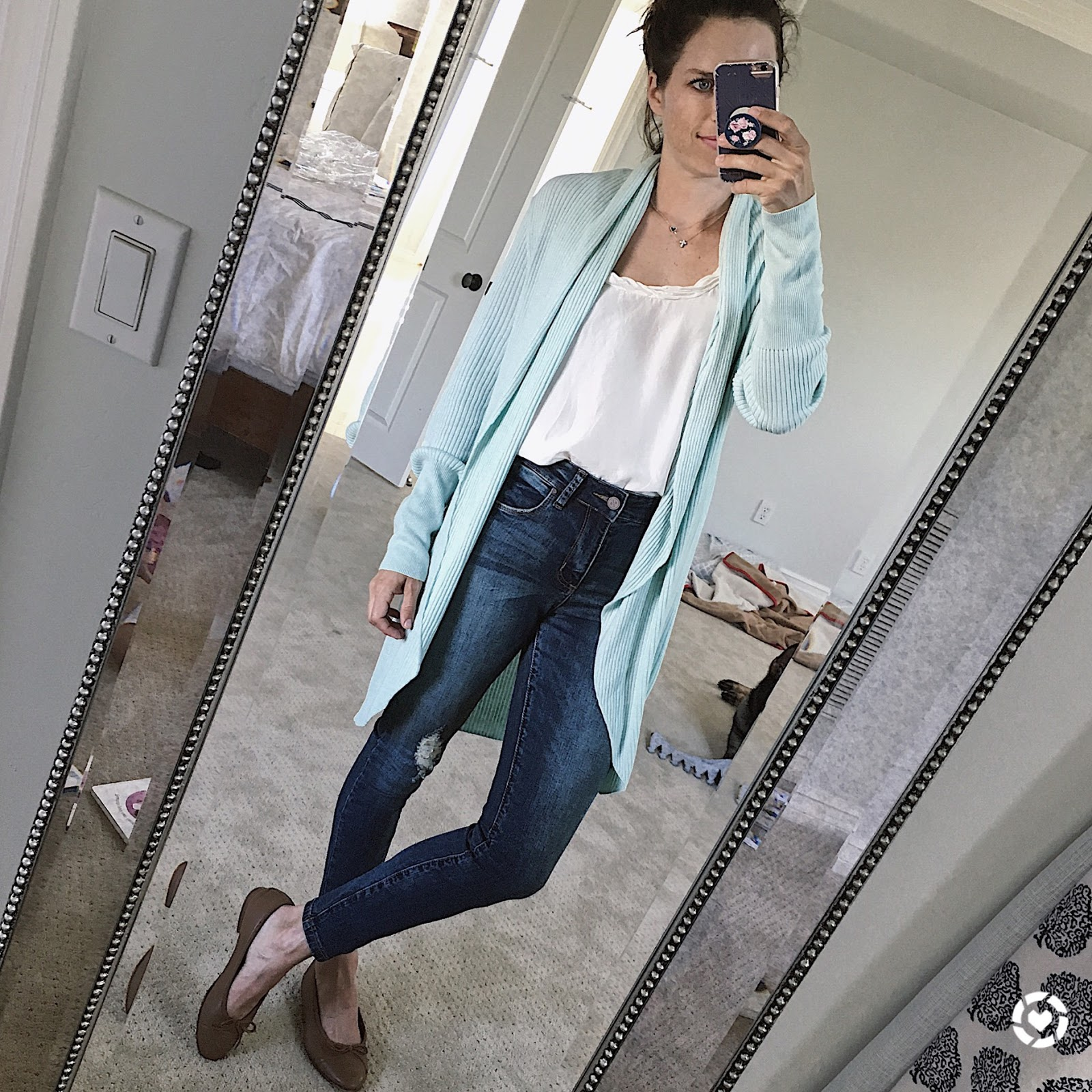 open cardigan blogger outfit