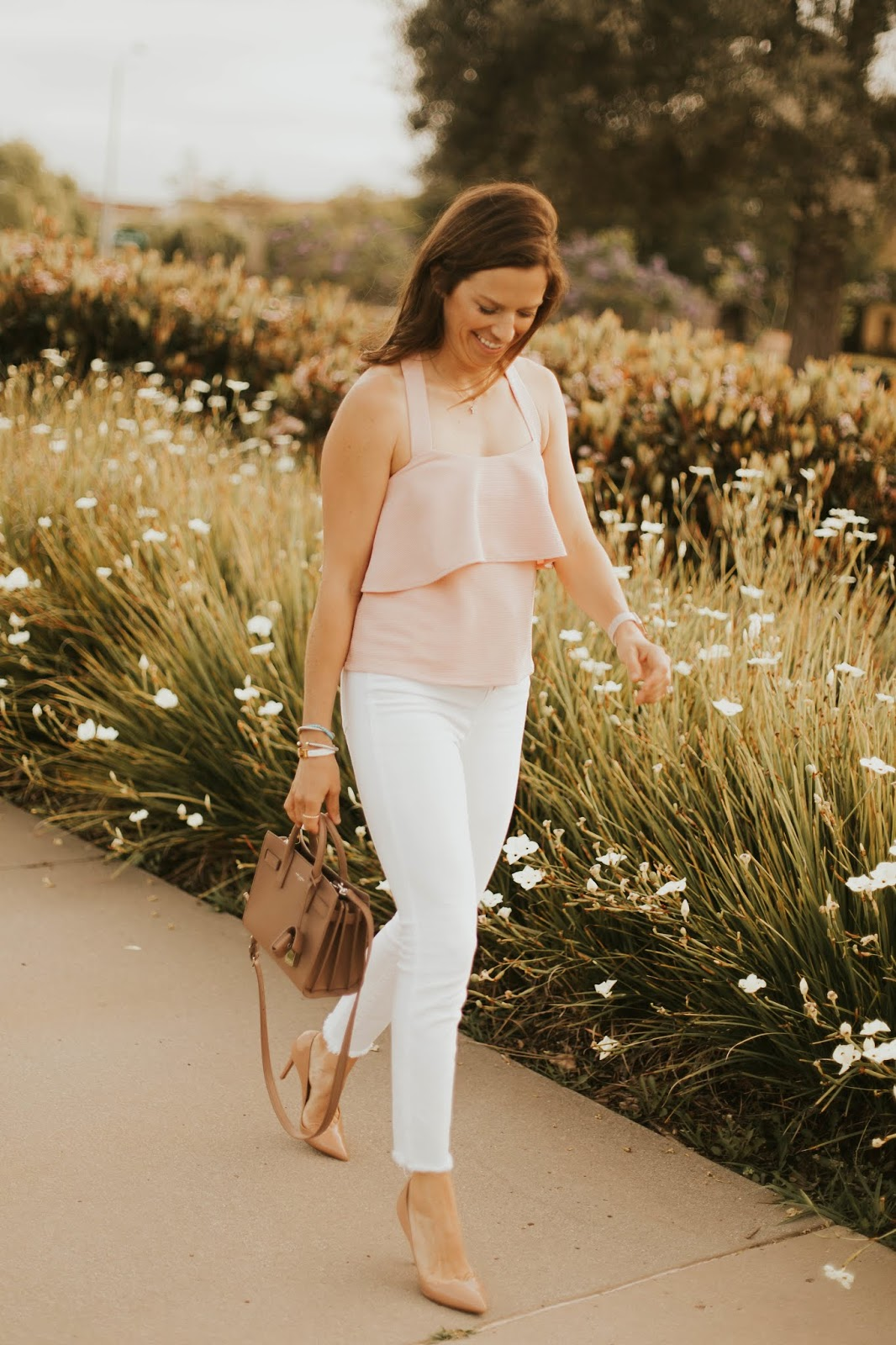 blush tiered top outfit