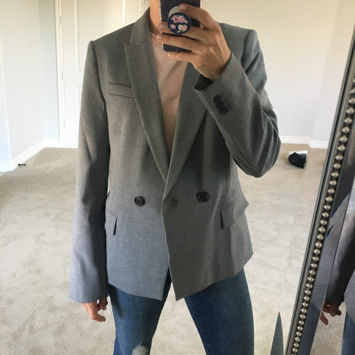 gray double breasted blazer