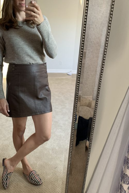 faux leather skirt and sweater outfit