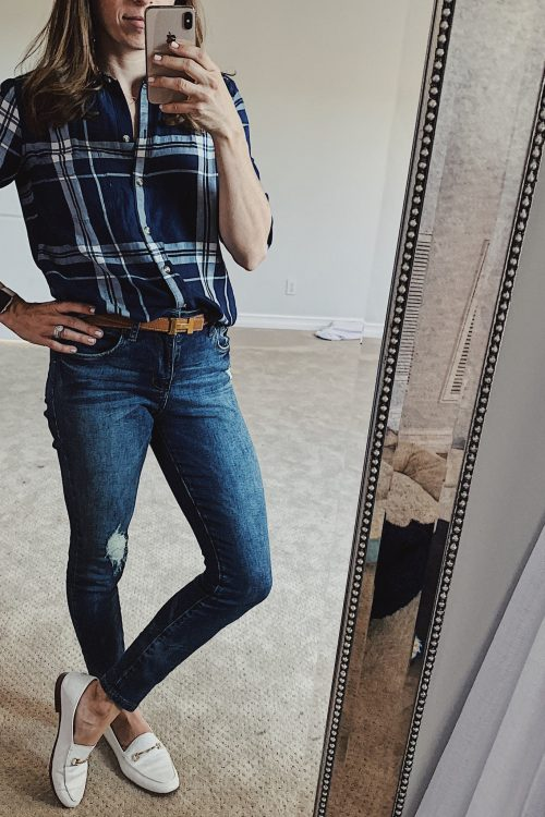 navy plaid shirt outfit