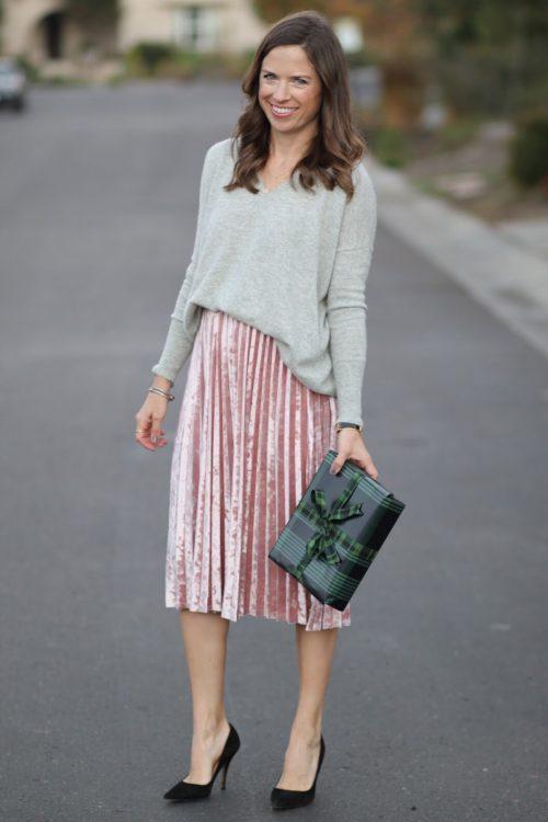 velvet pleated skirt
