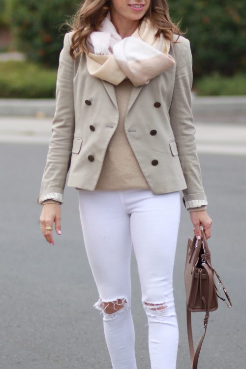 neutral sweater and blazer