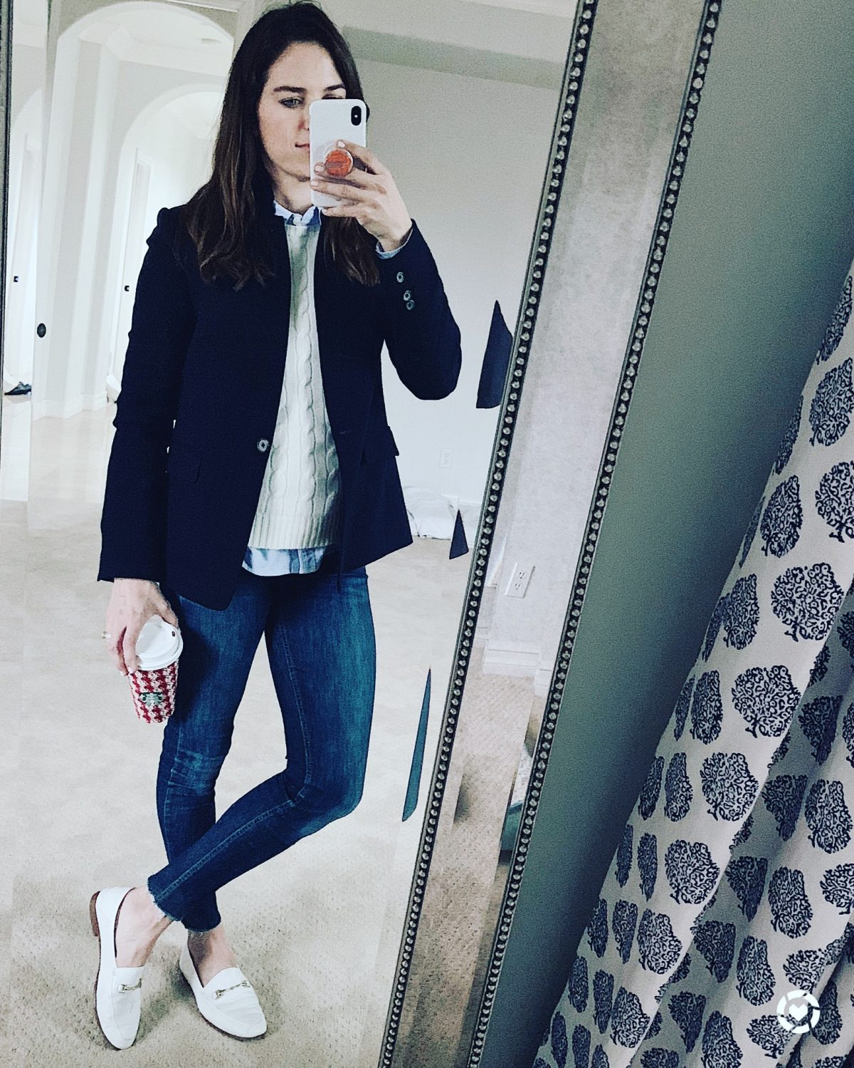 blazer and loafer outfit