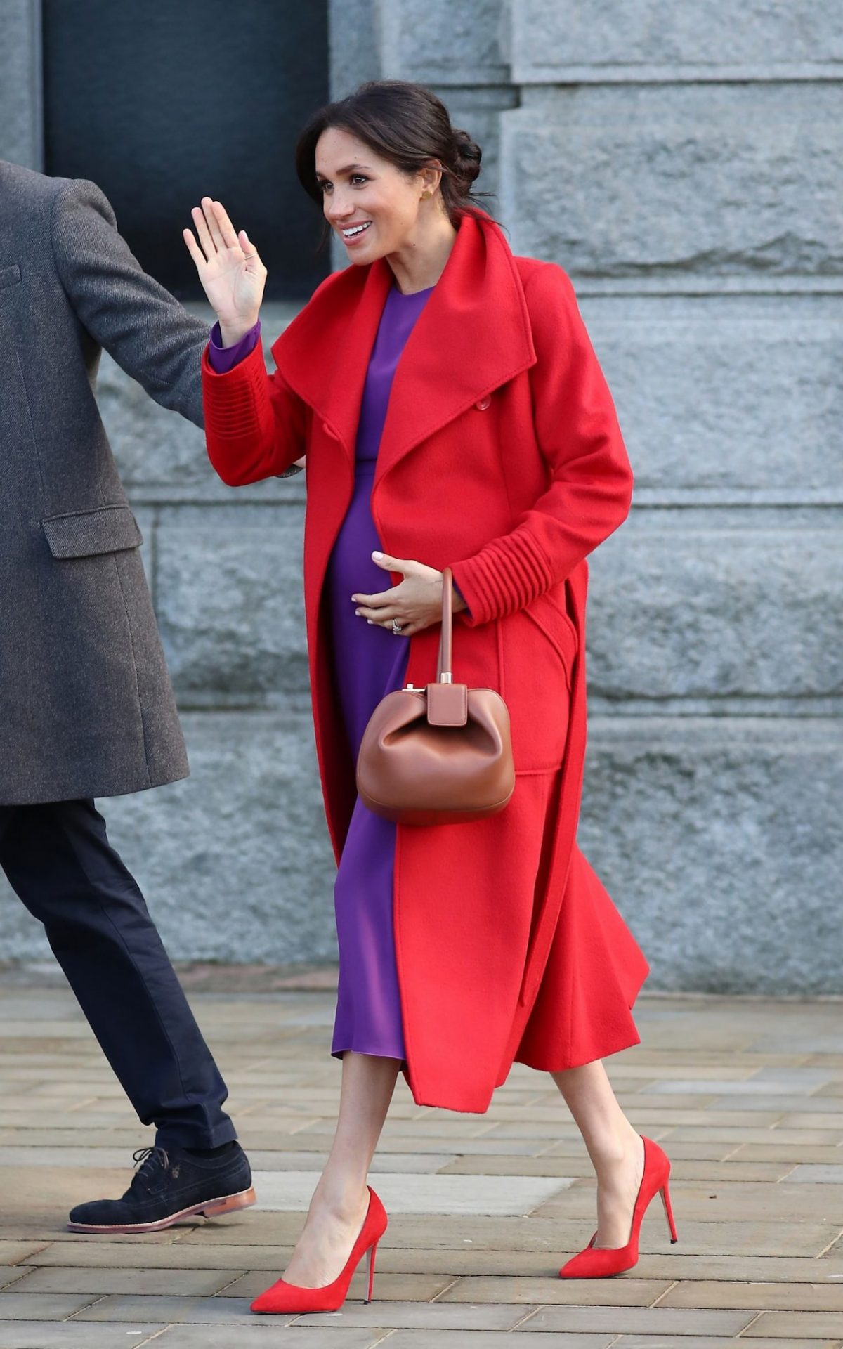meghan markle red coat
