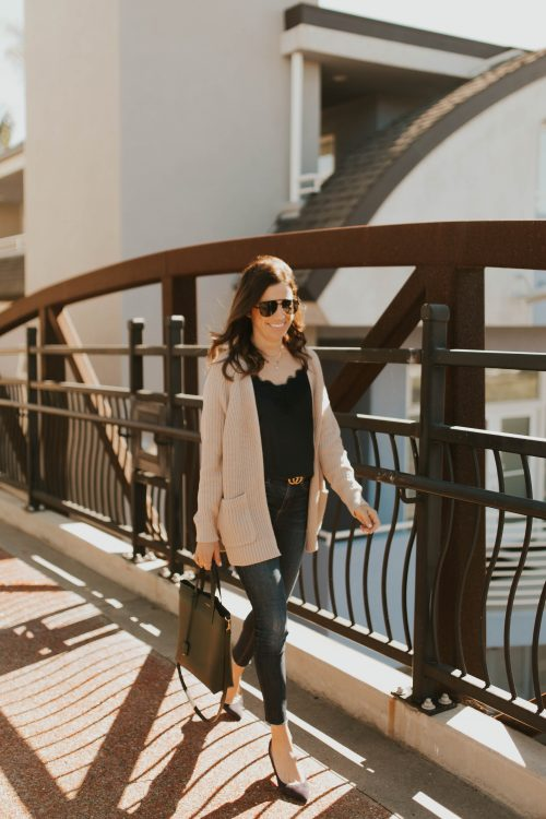 beige cardigan outfit