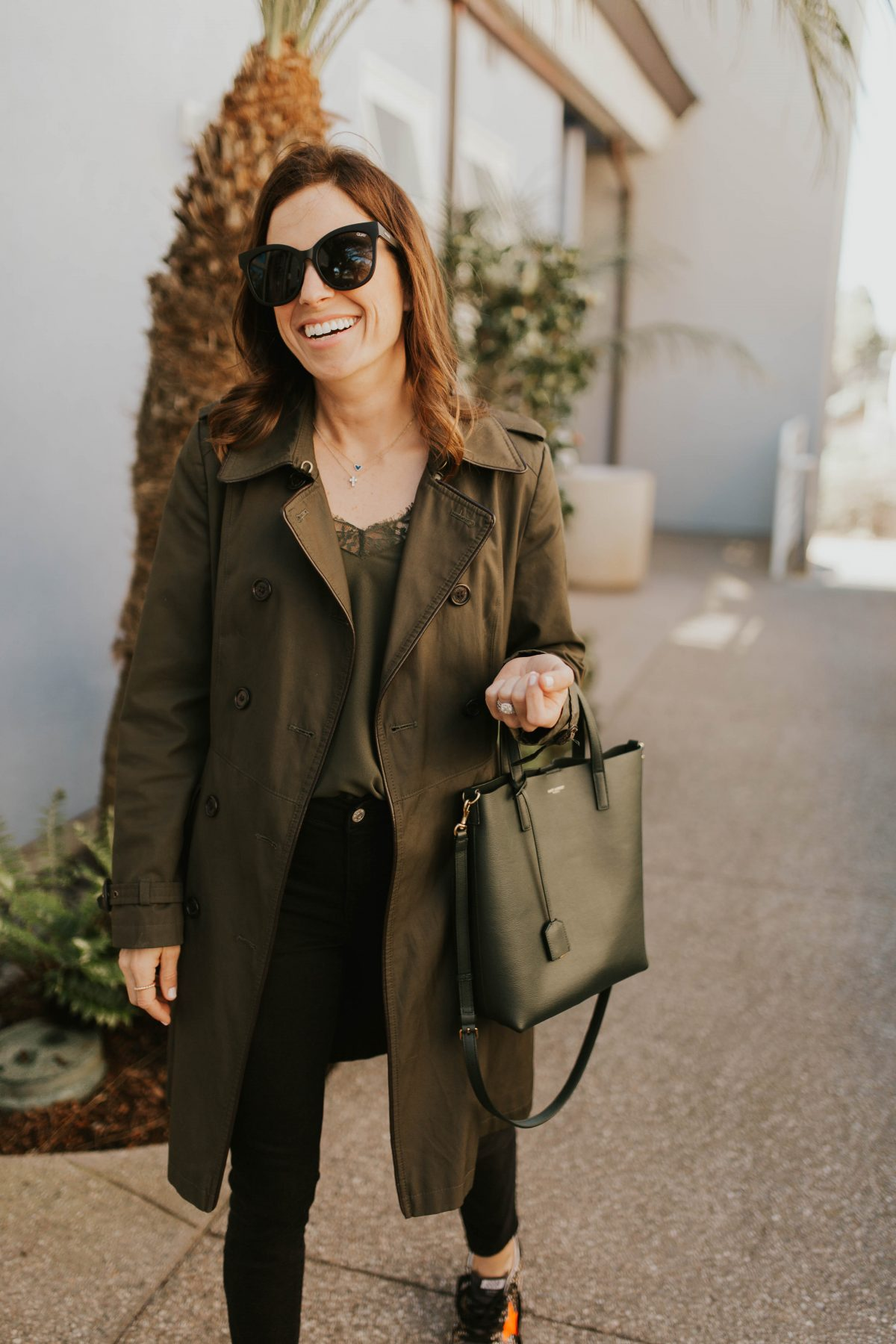 green trench outfit