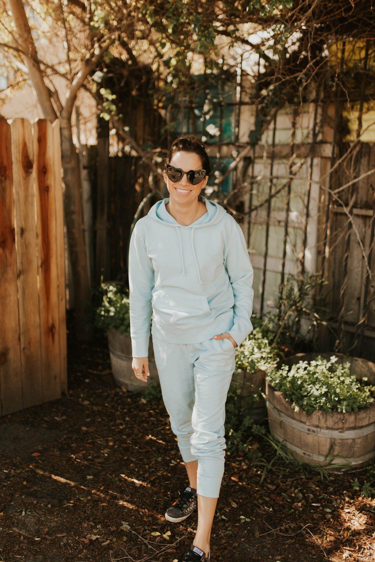 blue hoodie and sweats