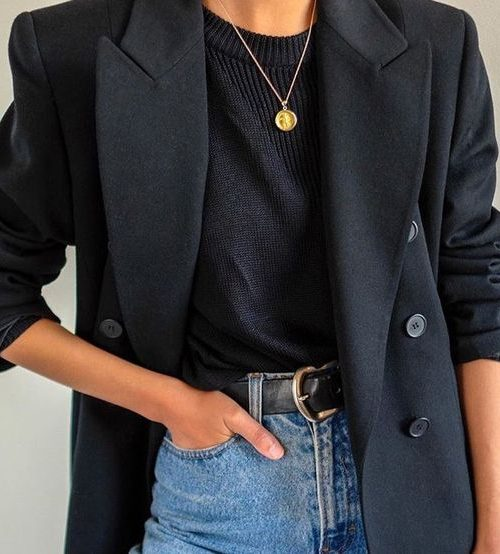 black blazer and tee