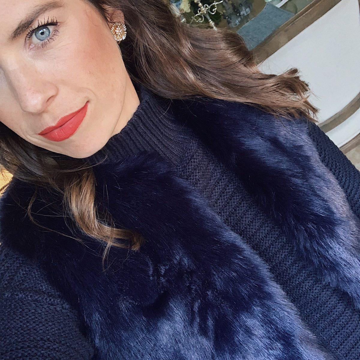 navy faux fur vest