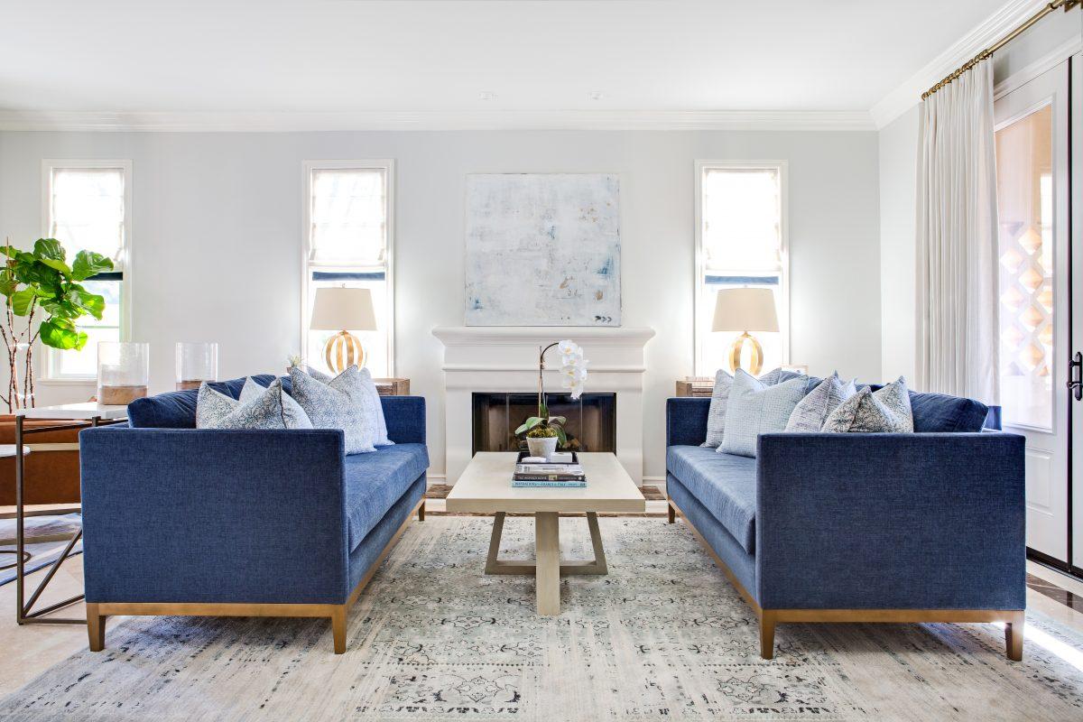 navy sofa living room reveal