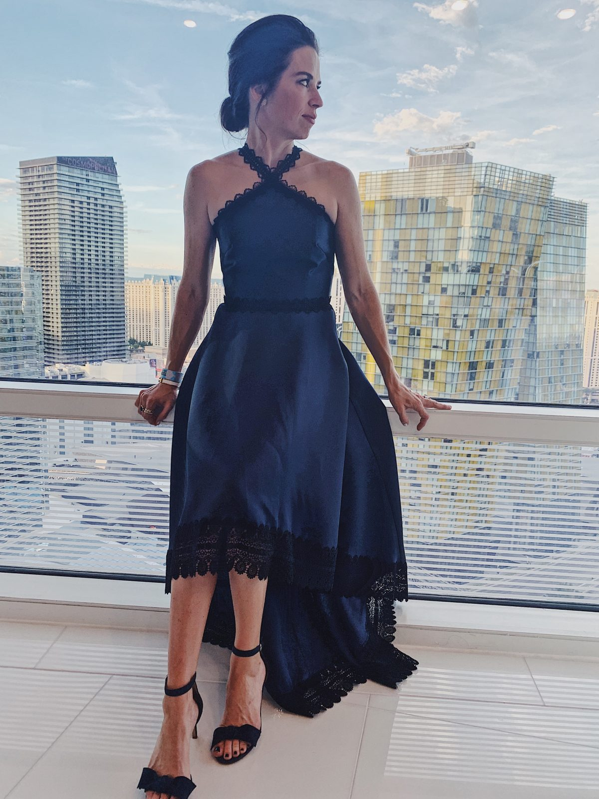 navy and black gown