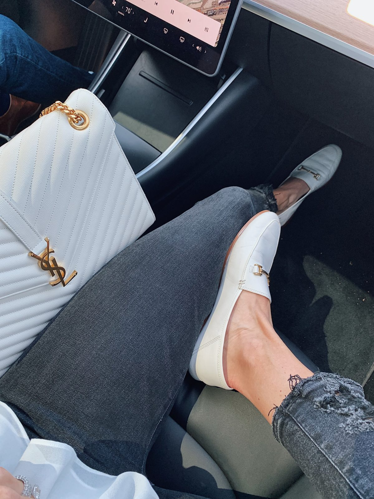 white ysl and white loafers