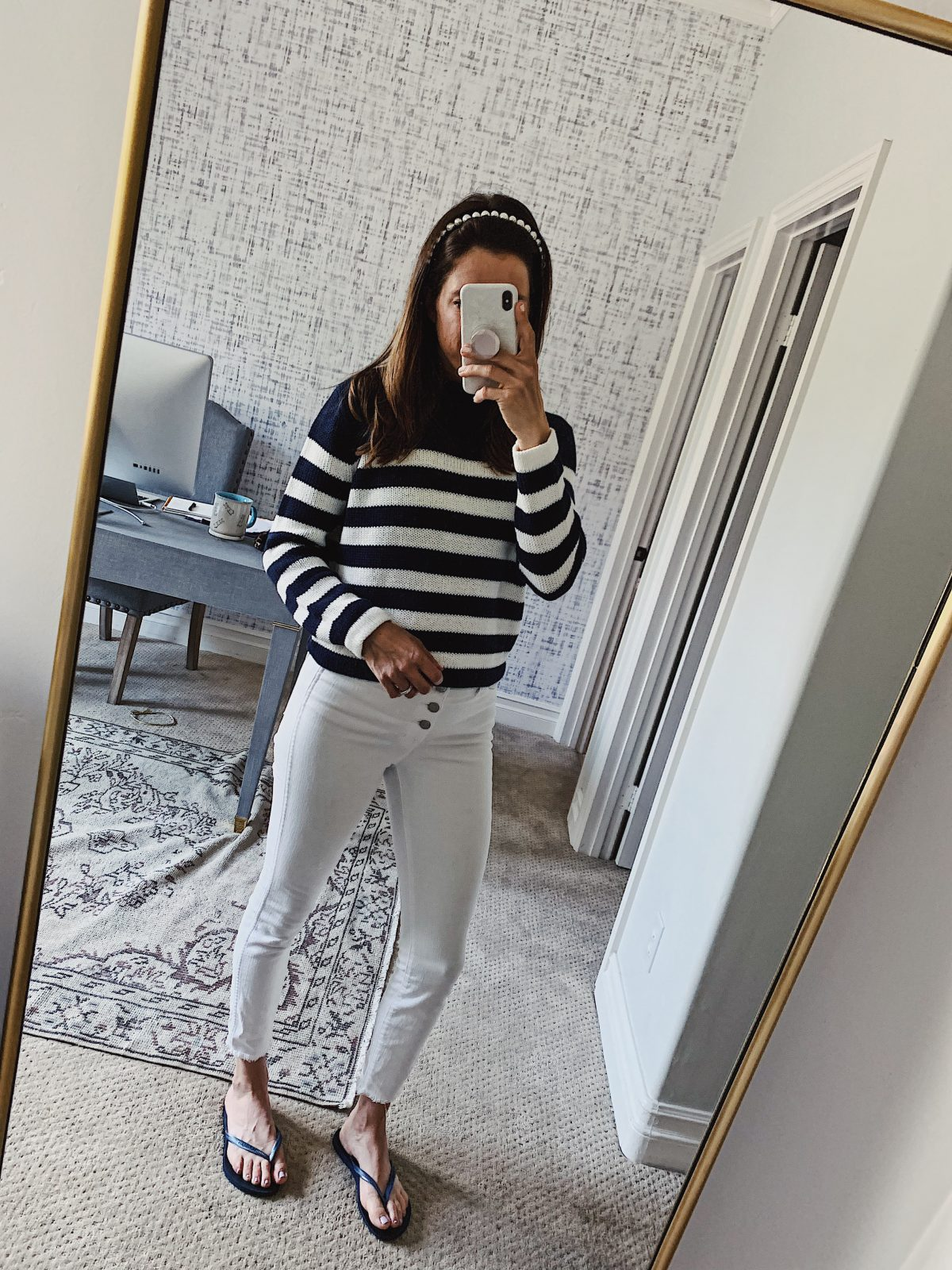 navy striped sweater outfit