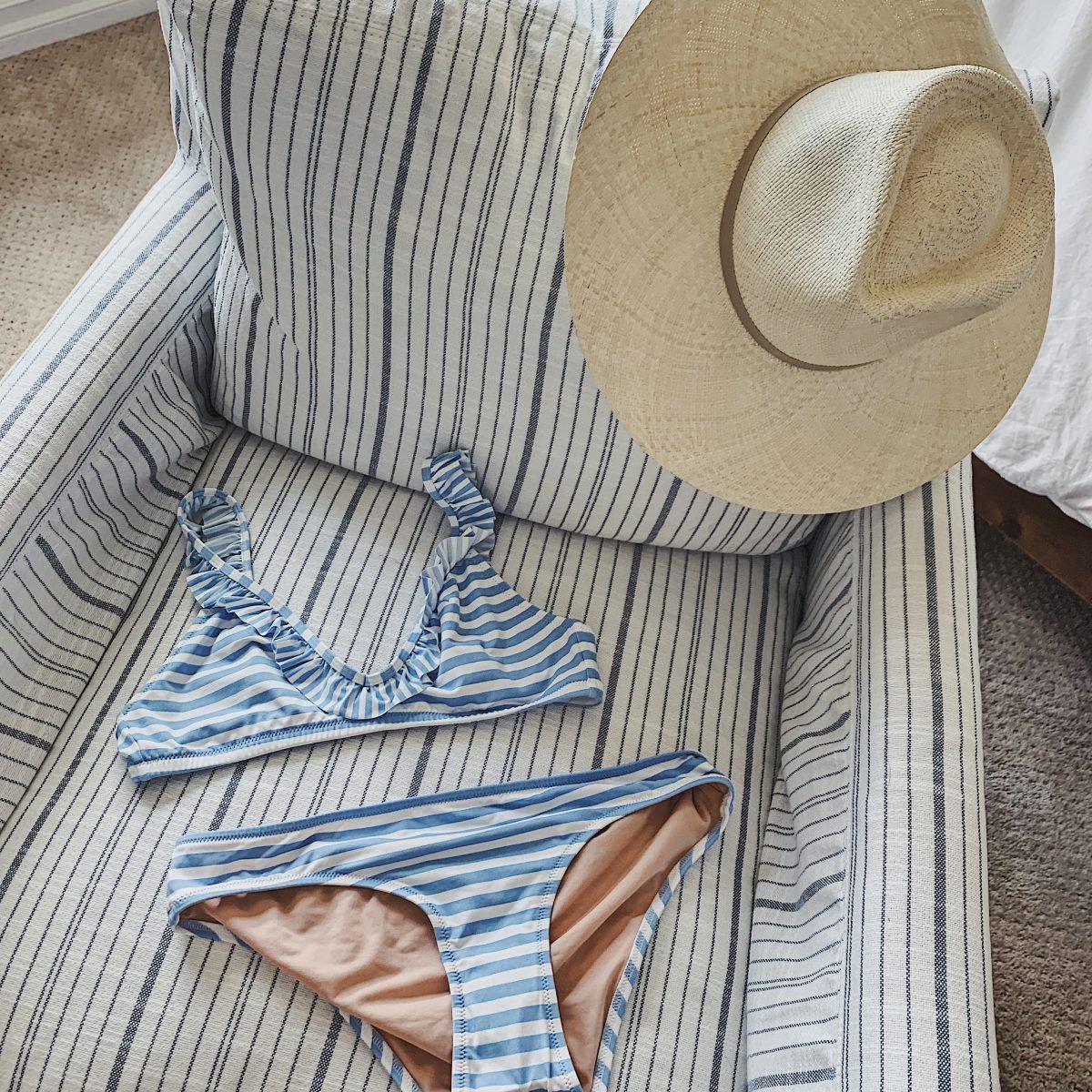 striped ruffle bikini