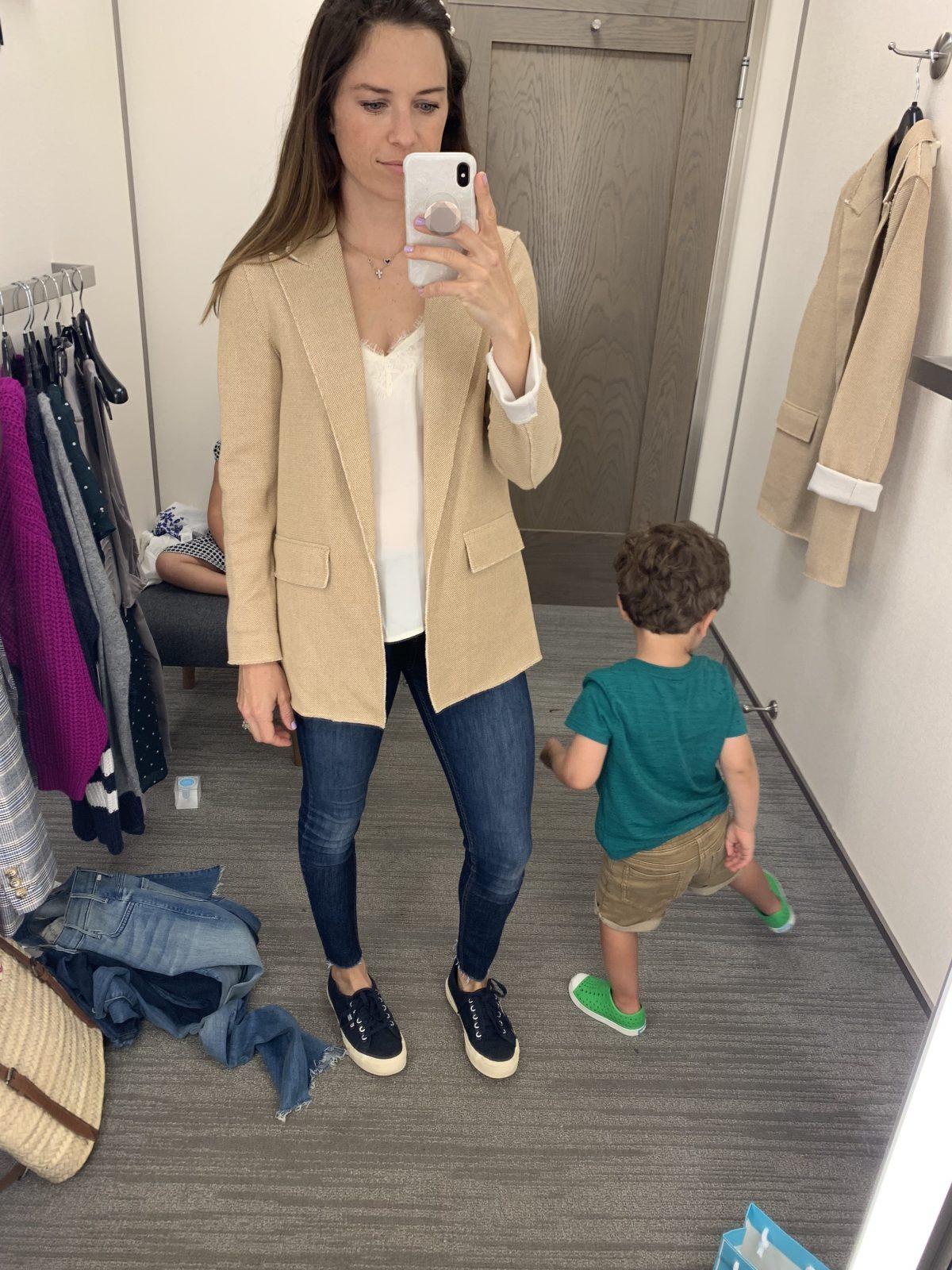 tan blazer outfit