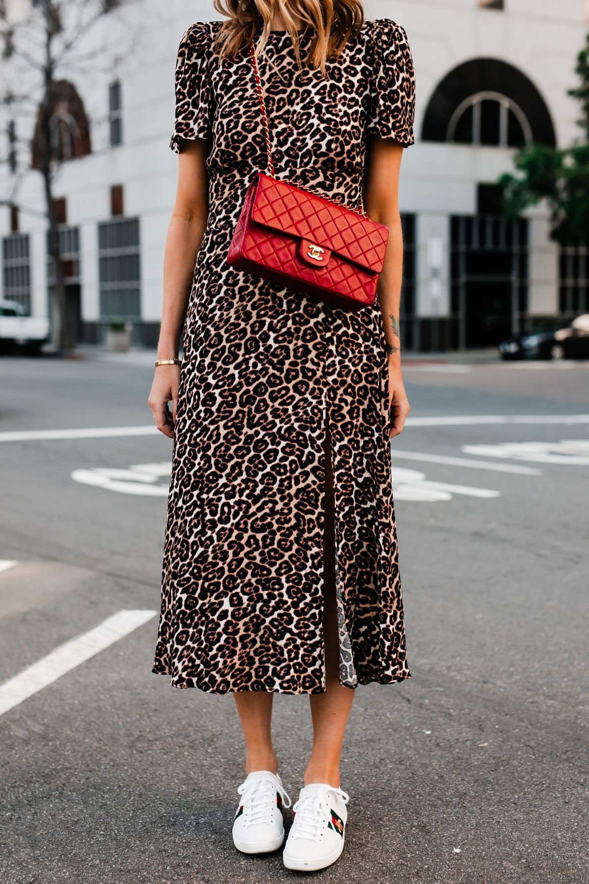 leopard dress and red chanel