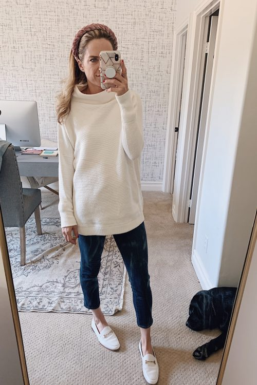 free people white tunic sweater outfit