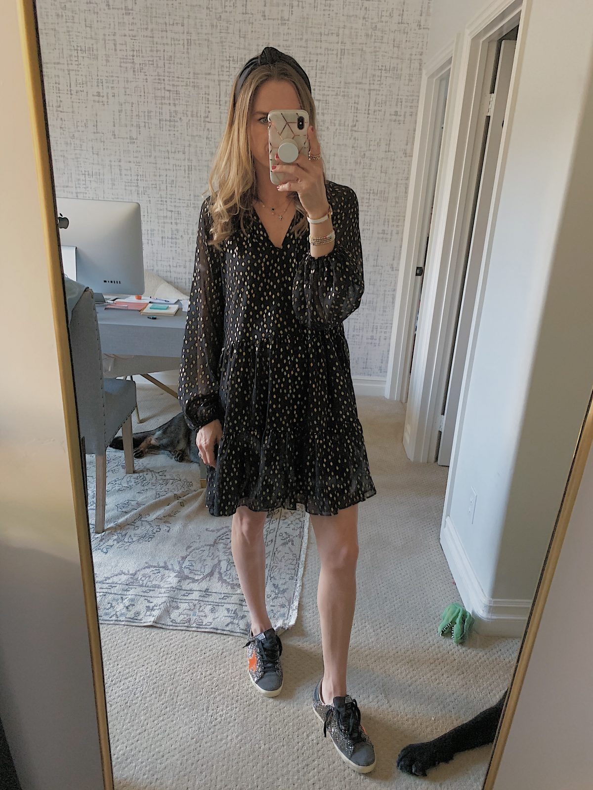 black and gold mini dress outfit