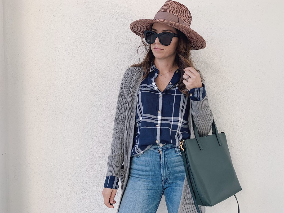 plaid shirt and cardigan outfit