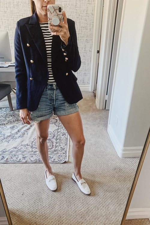 blazer, stripes and loafers outfit