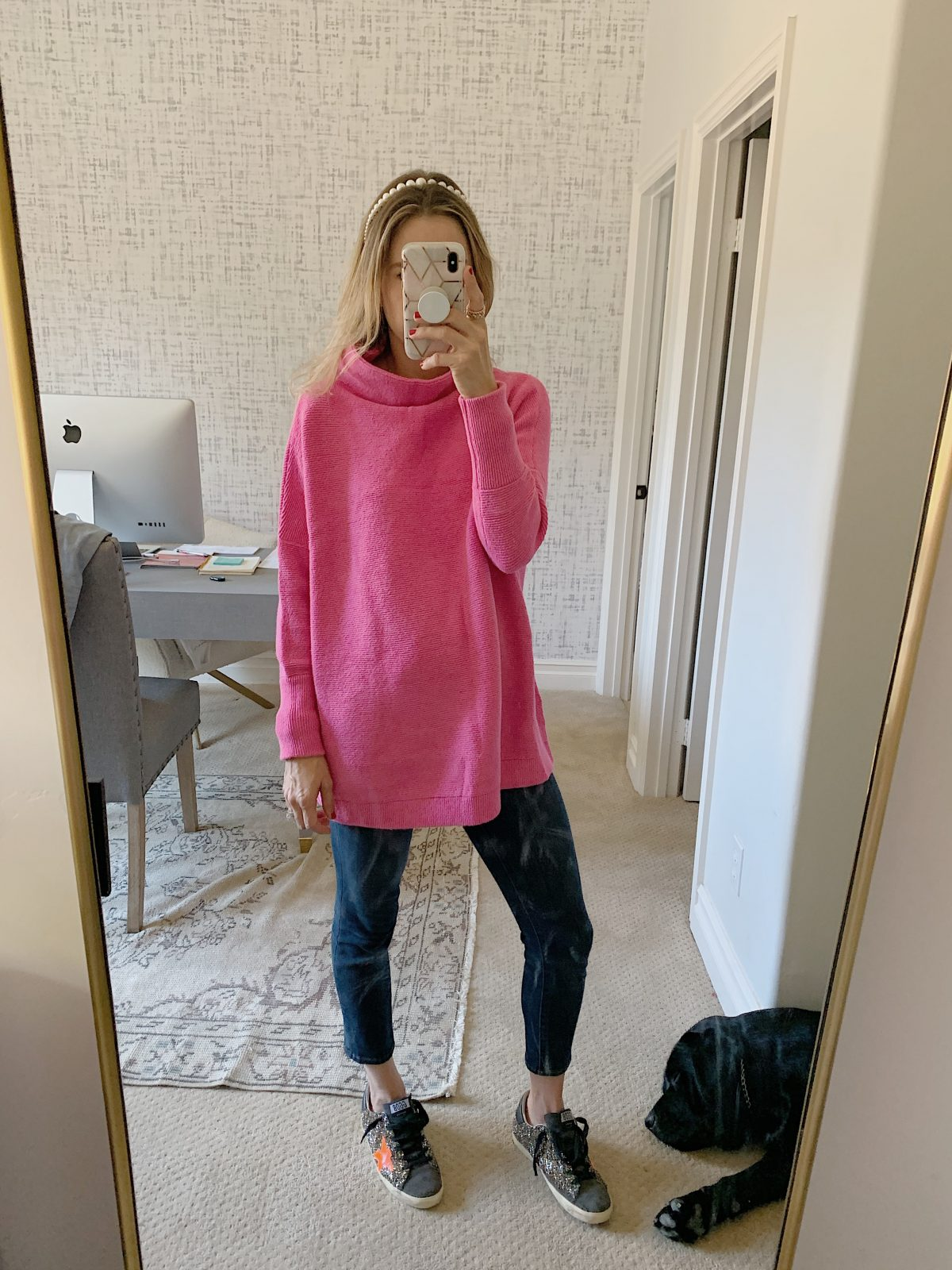 top pink sweater tunic outfit