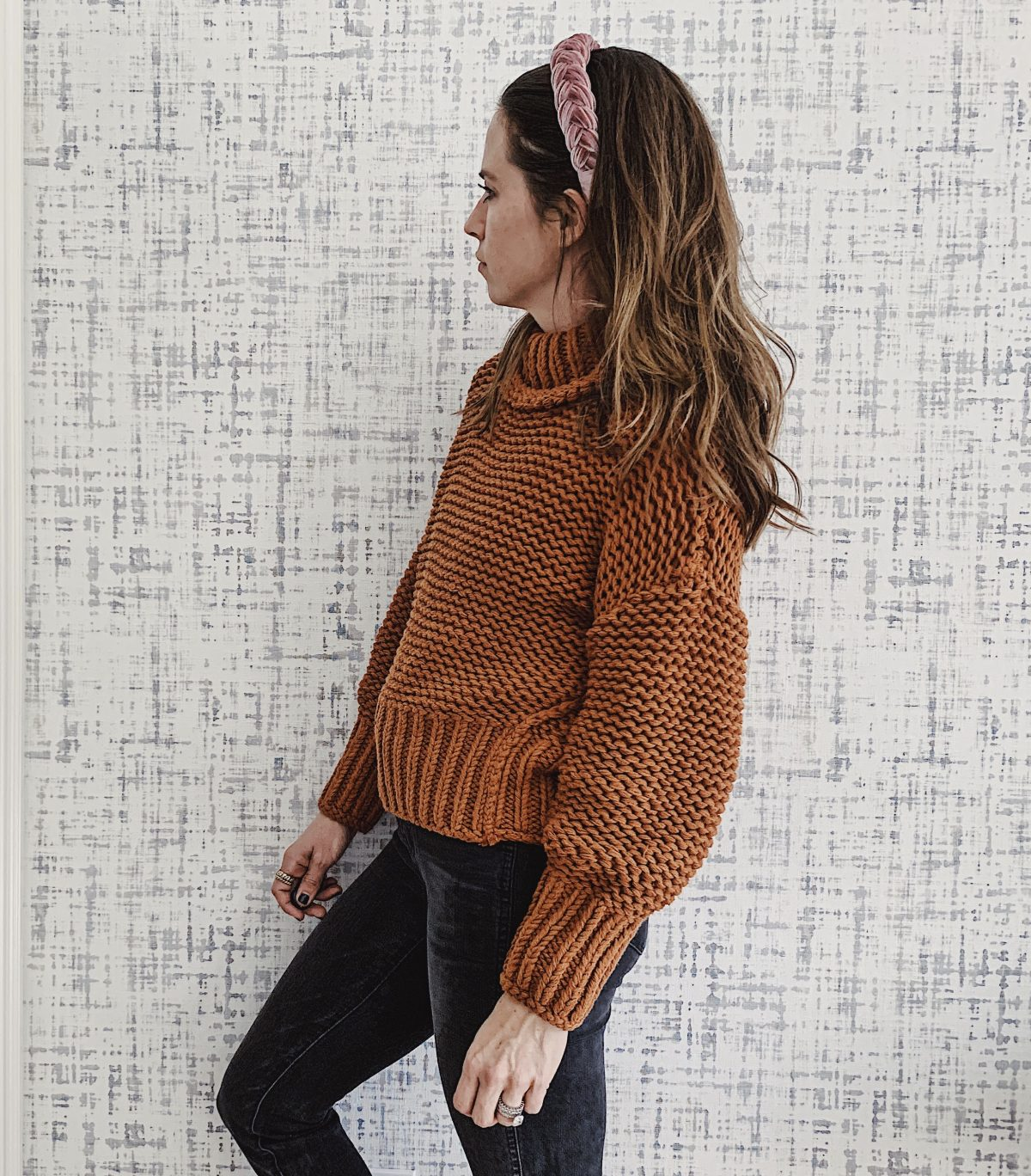 rust thick knit sweater