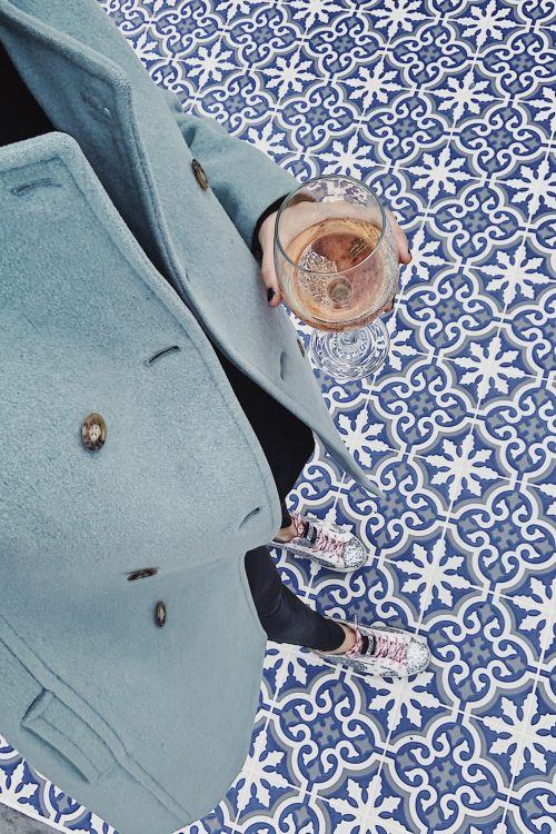 outdoor blue patterned tiles